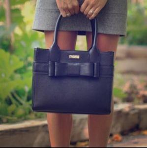 Kate Spade Quinn Villabella Tote Bow Black Leather Purse Bag